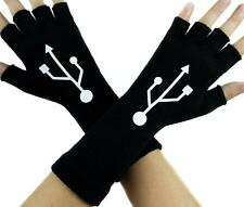 USB Sign Symbol Black Fingerless Gloves Arm Warmers Alternative Clothing Gamer
