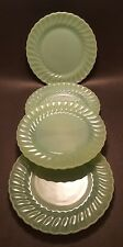 "Lot of 4 Vintage Jadeite Anchor Hocking/Fire King 10"" Dinner Plates Shell/Swirl"