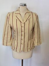 SAMPLE MULBERRY CREAM & RED PINSTRIPE LINEN & COTTON JACKET SIZE 10