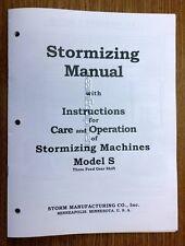 Storm Vulcan Model S Boring Bar Instruction &  Parts Manual