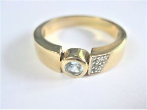 Ring Gold 375 With Blue Topaz, 5,4 G