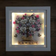 Personalised LED light Box Frame Family tree Gift Christmas Love Scrabble
