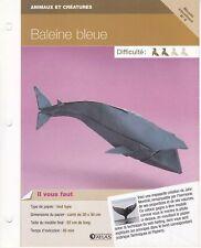 Origami pliage papier Aquatique - Fiche Technique n°2 : Baleine bleue