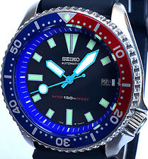 Vintage mens watch SEIKO diver 7002 PEPSI mod w/all NEON BLUE Plongeur hand set!
