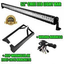 "52"" 300W CREE LED Work Light Bar + Jeep Mounting Brackets 07-15 + Wiring Harness"