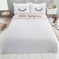 Duvet Cover Set - Double Bedset Cotton Polka Dot Funky Bedding Set Reversible