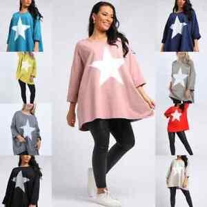 New Italian Women Ladies Star print OverSized Cotton Lagenlook Top Plus Size