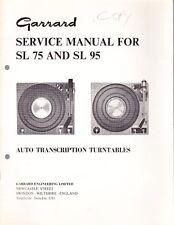 GARRARD SERVICE MANUAL FOR MODELS SL75 & 95 AUTO TRANSCRIPTION TURNTABLES