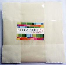 "Bella Solids SNOW Layer Cake, Moda Precut 10"" Squares, Cotton Quilting Fabric"