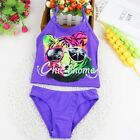 Girls Flower Printed Swimwear Tops Bottoms Zippered Rash Guard Bathing Swimsuit