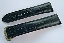 BLACK LEATHER STRAP & DEPLOYMENT CLASP 20mm for OMEGA MOONWATCH and AQUA Terra