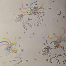 Vtg MCM Comark Plastics NY UNICORN & STARS WALLPAPER Roll Pastel Fantasy Horse