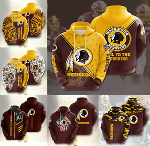 Washington Redskins Hoodies Football Pullover Sweatshirt Casual Hooded Jacket