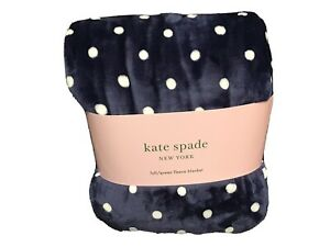 Kate Spade New York  Polkadot Navy~ White Full-Queen Fleece Blanket