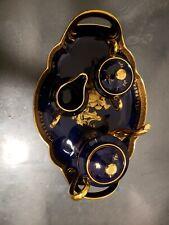 Limoges France Cobalt Blue Gold Porcelaine D'Art Tea Serving set