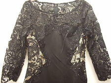 Ever-Pretty Black Elegant Rhinestone 3/4 Sleeve Lace Long Evening Dress Size 8