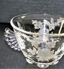 Vintage Elegant Glass Crystal Sugar Bowl Wing Handles 4 Toes Floral Etch
