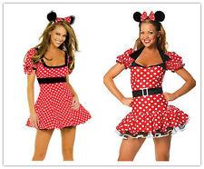 Halloween Donna Minnie Mouse Rosso Pois Costume vestito addio al nubilato