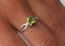Peridot 1.20 ct 7mm Trillion Cut Ring Size 7.5 - Sterling Silver