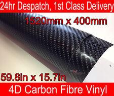 4D Abrigo Del Vinilo De La Fibra De Carbono Película Hoja Negro 400mm x1520mm