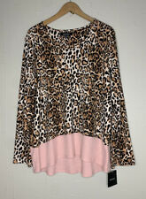 Ellen Tracy XL Pajama Top Leopard Animal Print Pink Long Sleeve