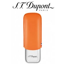 More details for s.t dupont cigar case - metal & leather - double 2 twin cigars orange 183012