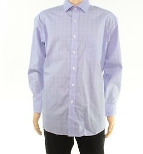 Club Room Mens Dress Shirt Blue Size 17 Glenplaid Long Sleeve Regular $55 #463