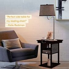 LED Floor Lamp Swing Arm Lamp w/ Shade & Built In End Table + 2 USB Ports & plug