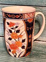 "Otagiri Blue White Orange Floral Flowers Coffee Mug Cup Japan Gold Rim 4"""