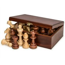 "NEW Staunton No. 7 Tournament Wood Chess Pieces in Wooden Box Set - 3.85"" King"