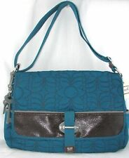 NEW FOSSIL BLUE+BROWN KEY PER FLORAL STITCHED CROSSBODY MESSENGER HANDBAG
