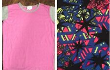 LuLaRoe Size 6 Solid Pink & Grey Gracie & Matching L/XL 8-14 Leggings Outfit NWT