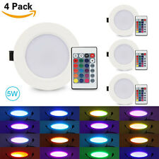4X 5W RGB Color Changing LED Recessed Ceiling Lamp Downlight +IR Remote Control