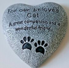 Heart Shaped Memorial Plaque graveside Memory Stone - Our Beloved Cat / friend