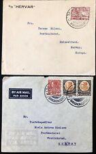 Siam Thailand Bangkok Rama VII Air Mail  2 used Cover Norway
