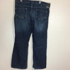 Helix Men's Blue Denim Slim Boot Distressed Cotton Jeans Size 38/30
