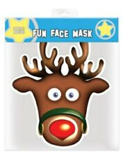 Rudolph the Red Nosed Reindeer Christmas Party Single Card Face Mask. Xmas Fun