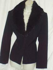 2 PC Anna Carole Outfit Black Faux Fur Collar Skirt & Blazer Jacket Suit Size 14