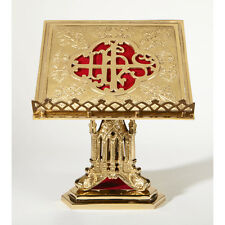"""San Pietro Missal Stand Polished Brass -- Book Rest 11-1/2"""" Square, Base 7-3/4"""""""