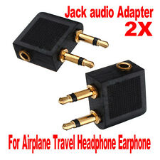 2pcs 3.5mm  Airline Airplane Earphone Headphone Headset Jack Audio Adapter New
