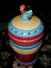 New listing Blue Sky Clayworks Heather Goldminc 2006 Funky Rooster Chorus Med Rust Canister