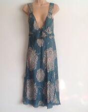 Jour BIRGER ET MIKKELSEN fleuri bleu soie slip style robe d'été taille 40
