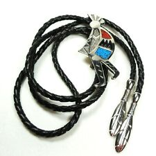Bolo Neck Tie Vintage Southwest Style Kokopelli Blue Red Turquoise Chips SW95