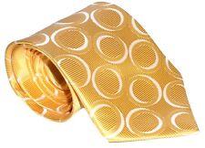 100% Silk Tie / Men's Necktie - Shiny Yellow With White Circles Pattern