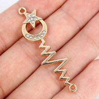 10Pcs  Gold Crystal Mom/&Baby Shaped Connector Charm Beads 21*24mm Jewelry Craft