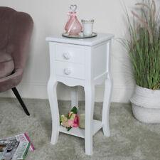 Slim White 2 Drawer Bedside Table vintage shabby chic storage bedroom furniture