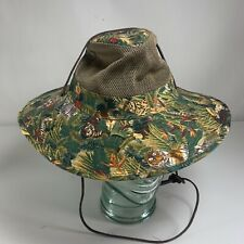 Dorfman Pacific Co. Mesh Bucket Hat Green Jungle Print Animals Outdoors SMALL