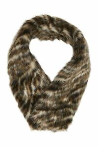 MICHAEL KORS Womens Scarf Safari Tiger Faux Fur Collar Camel $58 - NWT