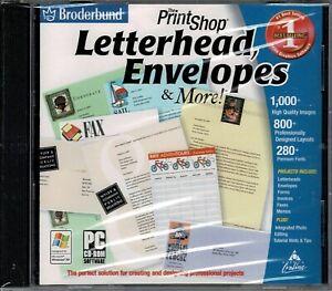 Broderbund Print Shop Letterhead Envelopes and More Pc Brand New XP