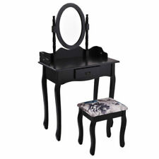 Giantex HW52600BK Vanity Wood Makeup Dressing Table with Chair and Mirror - Black